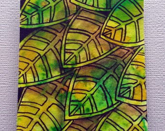 Green Leaves #3 original ACEO