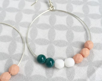 Modern White, Peach and Teal Faceted Bead Hoop
