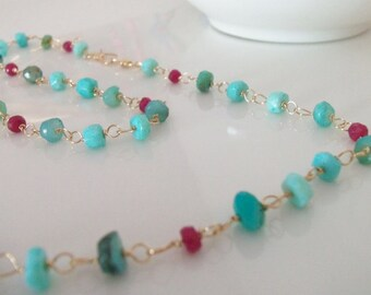 Peruvian Opal and Ruby Gemstone Wire Wrapped Gemstone Necklace with 14k Gold Fill Handmade Jewelry