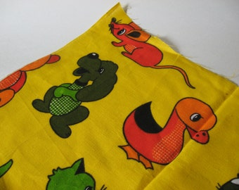 Odd mod vintage bright yellow cotton fabric material children's room cat dog bunny duck bear