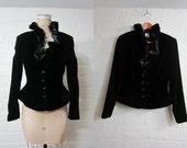 1990s Black Neiman Marcus Victorian Velvet Queen Blazer Medium