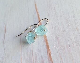 Aquamarine Earrings Raw Aquamarine Earrings Aquamarine Jewelry Gemstone Earrings