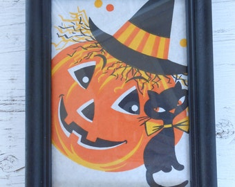 vintage framed Halloween print paper tablecloth remnant