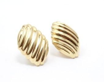 Vintage Half Domed Stud Earrings 14k Gold 30x22 mm 7.5 grams Italian Gold