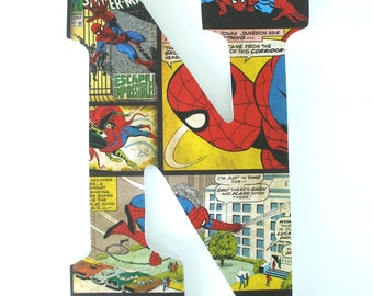 Spiderman Wooden Letters for Bedroom - Baby Boy Nursery Decor - Superhero Marvel Comics Wall Decorations - Birthday Gift for Boys