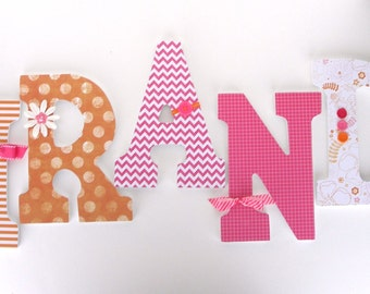 Wooden letter nursery decor baby name wall art by letterluxe for Baby name decoration ideas