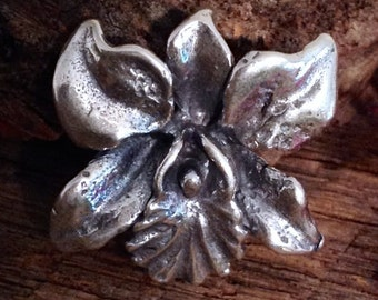 Cattleya Orchid Sterling Silver Flower Pendant  - Sculpted Beauty Exotic Flower Charm - P8