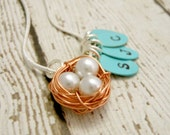 Personalized Copper Bird's Nest - Hand Stamped Initials Wire Woven Necklace