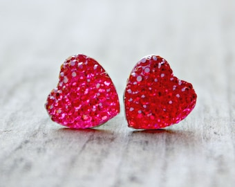 Heart Earrings, Pink Sparkle Pave Rhinestone Hearts on Hypoallergenic Titanium Posts
