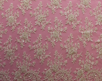 Hand Embroidered FRENCH Chantilly Lace - PEARLINA