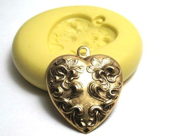 Victorian Heart Mold, Heart Mold with bail, Flexible Silicone Mold, Jewelry Mold, Polymer Clay Mold, Resin Mold, Craft Mold, PMC Mold