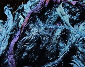 SALE - Recycled Sari Silk Ribbon -  Ocean Paradise