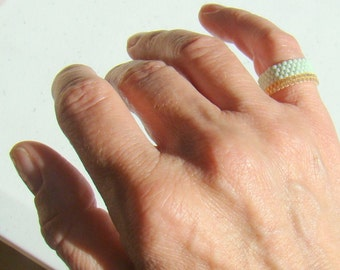 Bead Ring in Mint and Gold Seed Bead Ring in Custom Sizes  Pale Green Beaded Ring  Size 6.5 7 7.5 and custom