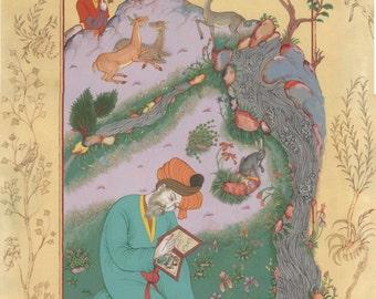 ORIGINAL PERSIAN PAINTING /persian miniature Dervish with animals/original painting with frame