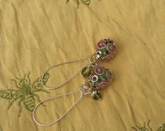 Lampwork Earrings in Pink and Green
