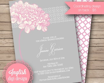 Hydrangea Bridal Shower Invite, Printable Hydrangea Bridal Shower Invitation - Sweet Hydrangea in light pink and gray
