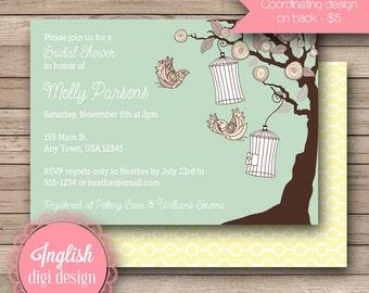 Flying Bird Bridal Shower Invite, Printable Bird Bridal Shower Invitation, Birdcages Bridal Shower Invite in Light Teal, Brown, Cream