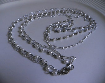 long, double strand Necklace, silver chain and Pearls