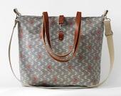 LARGE.Waterproof laminate, gray arrow linen Tote / Shoulder Bag / school bag / Diaper bag, with detachable strap. Design by BagyBags