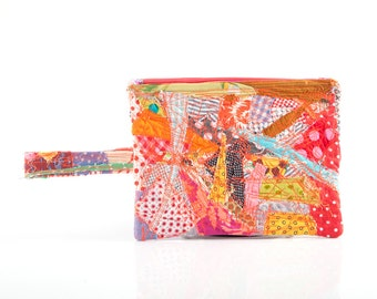 Back to school - upcycled gadget bag, zipper pouch - Recycled  Pencil case with handle -Crazy Patchwork ,Make Up Bag, colorful eco handmade
