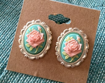 Shabby Chic Rose Earrings-Cameo Jewelry-Pink and Teal