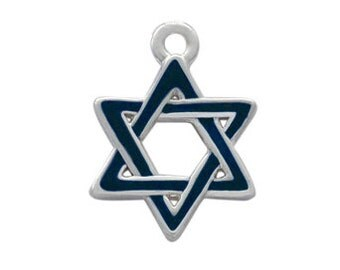 Silver Plated, Enameled Blue Star Of David Charm, Qty.1