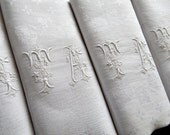 12 Vintage French Damask Napkins of Fine Quality with Hand Embroidered Monogram