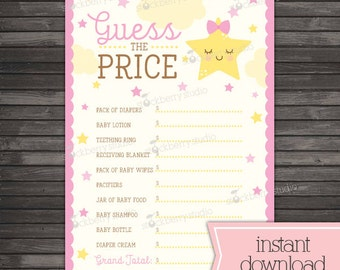 Twinkle Twinkle Little Star Baby Shower Price Is Right Game - Girl Baby Shower Games Printable - Instant Download - Pink Baby Shower Games