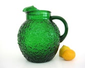 Vintage Glass Pitcher, Ball Shape Pitcher, Textured Green Glass, Ice Lip, Forest Green Milano Anchor Hocking 1960s