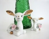 Vintage Ceramic Deer Figurine Set White Mother Baby Fawn Sitting Gold Ears Spots Pink Rose Flower Chase Japan Christmas