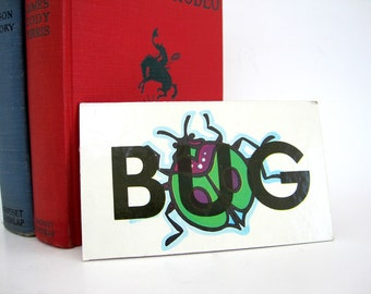 Vintage BUG Picture Word ARE Tile Flash Cards Craft Altered Art Supply Childrens Shelf Decor Home School