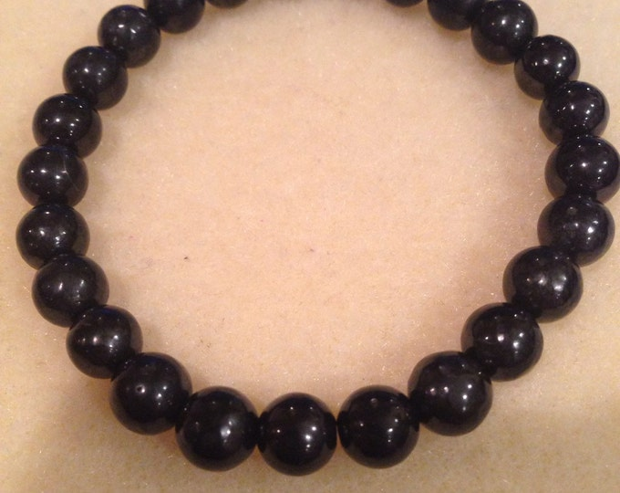 Shungite 8mm Round Stretch Bead Bracelet with Sterling Silver Accent