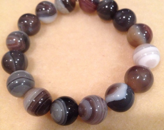 Botswana Agate 12mm Round Bead Stretch Bracelet with Sterling Silver Accent