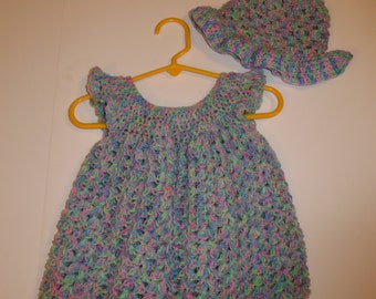 crochet baby sundress with sun hat, newborn, baby girl, baby shower, photo prop