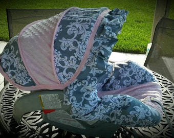 Gray white damask with ruffle and light pink minky infant car seat cover - by Baby Seat Covers By Jill - always comes with free strap covers