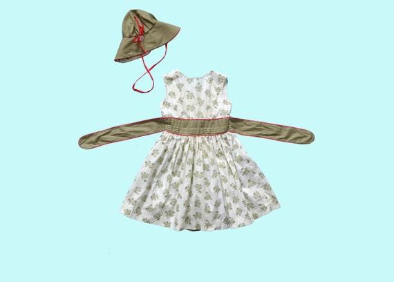 1950s Child's Dress and Hat Set