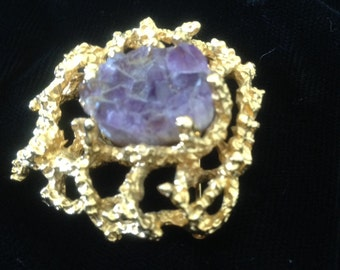 Vintage Signed Panetta Rough Cut Amethyst and Gold Tone Brooch/Pin//Birthday// Anniversary//Mothers Day