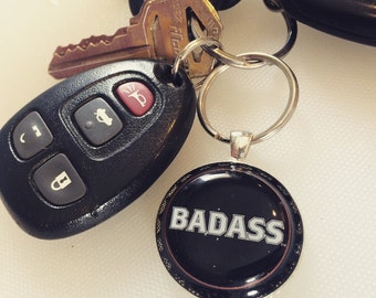 Badass upcycled keychain, pendant, michigan, beer, kid rock, detroit, necklace, recycled, bottlecap