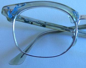 Vintage Geek Girl Glasses Frames Nusir Royale 5 1/2 with Painted Rhinestone Flowers