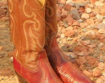 SPECIAL  SALE !    Tony Lama Lizard Skin / Leather Cowboy Boots (size 7D)