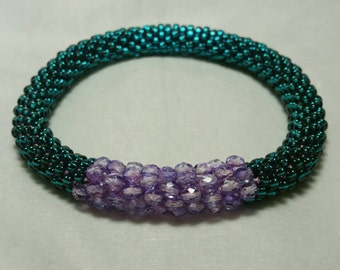 Teal and Purple Bead Crochet Bangle - Ready to Ship