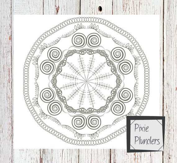 Mandala Colouring Card - Water - INSTANT DOWNLOAD