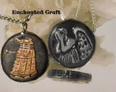 Doctor Who DALEK pendant or WEEPING ANGEL with either Exterminate or Don't Blink in the edge- for the Whovian