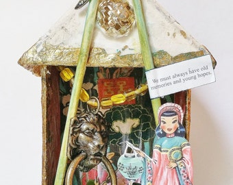 Chinese Themed Mixed Media Assemblage, Upcyled Altered 3D Art Shrine, Chinese Shadow Box Niche, Original Art