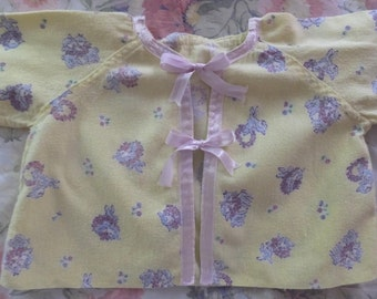 Vintage Yellow Cotton Flannel Little Lamb Baby Jacket