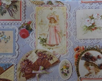 Vintage Hallmark Antique Ladies Birthday Card Post Card Lace Gift Wrap Wrapping Paper
