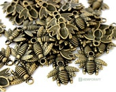 Honey Bee Charms, 12pc Bronze Bee Charms, Save the Bees, 21x16