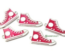 Sneaker Charms, 5pc High Top Shoe Enamel Charms, Pink All Star Charms, 17x30mm