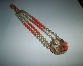 Vintage necklace, Orange/Faux Pearl  Beads Necklace, pendant gold leaf circa 1940