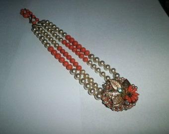 Vintage necklace, Orange/Faux Pearl  Beads Necklace, pendant gold leaf, circa 1940